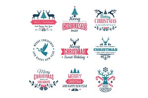 Christmas elements. Holiday labels