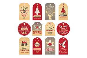 Christmas labels. Holiday tags and