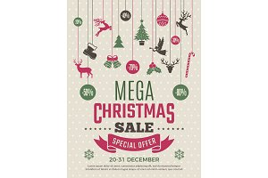 Christmas poster for big sales. New