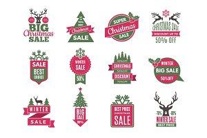 Christmas sale tags badges. Holidays
