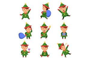 Elf characters. Xmas mascot