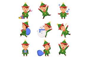 Christmas elf. Santa helpers dwarfs