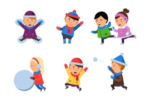 Winter kids clothes. Characters