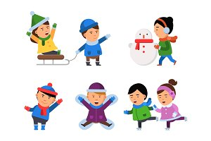 Winter smile characters. Kids snow