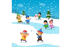 Kids winter playing. Funny smile