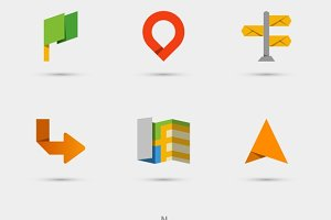 Map, location and navigation icons