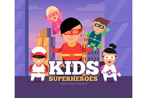 City kids heroes. Urban landscape
