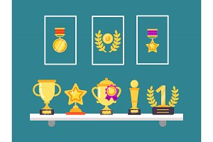 Achievements on shelves. Wall trophy