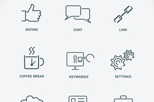 Modern line SEO icons