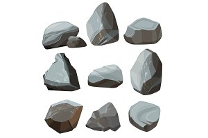 Colored cartoon stones. Granite