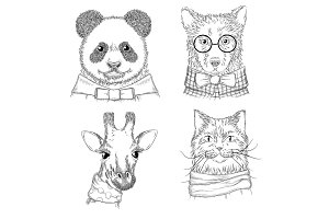 Hipster animals. Fashion adult