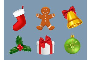 Merry christmas icons realistic