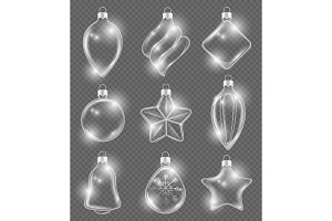 Xmas realistic balls. New year glass