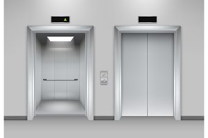 Lift doors building. Business office