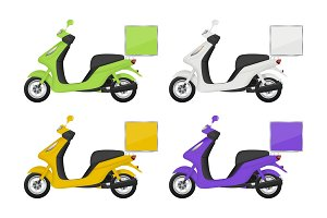 Motorbike colored. Views of delivery