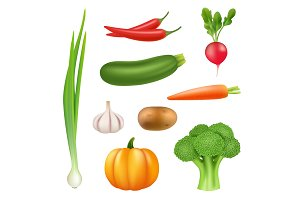 Vegetables realistic pictures