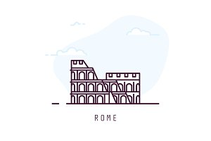 Rome line style colosseum