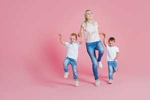 Beautiful blonde mom with sons