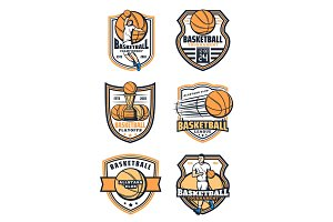 Basketball sport game icons, vector