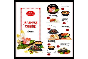 Exotic Japan dishes cuisine menu