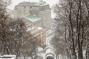 Winter view on public funicular