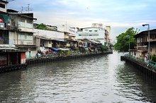 Slums along the river. Bamgkok