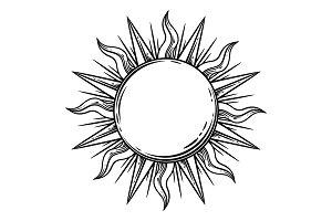 Bohemian hand drawn sun.