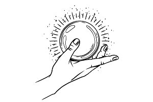 Open hand with magic ball.
