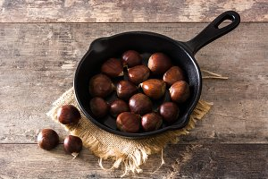 Chestnuts in iron pan