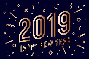 2019, Happy New Year. Greeting card