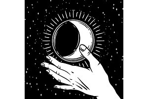 Open hand with vintage moon.