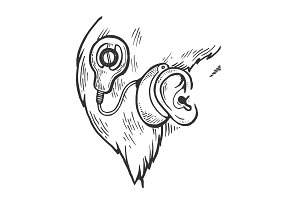 Cochlear implant engraving vector