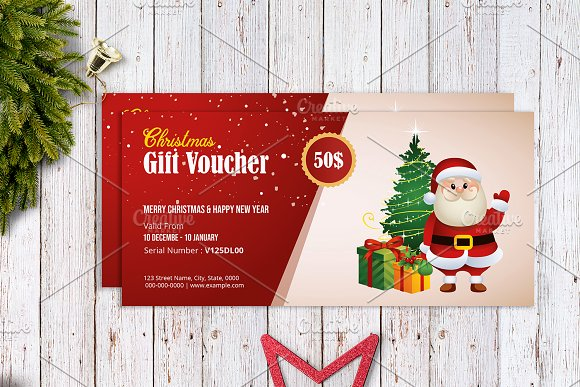 christmas gift voucher template v03 stationery