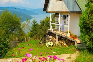 Romanian house in green garden