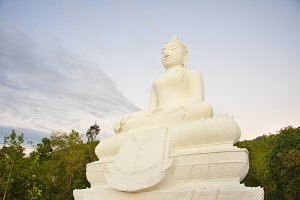 marble statue of sitting Buddha