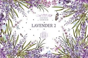 Hand Drawn Watercolor Lavender 2