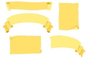 Yellow paper Ribbon banner set.