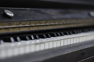 Ivory keys of an antique piano