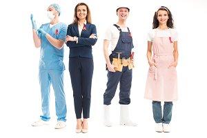 happy businesswoman, doctor, worker