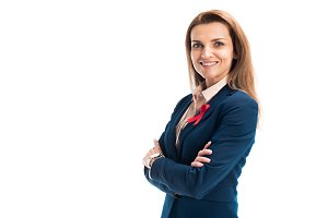 smiling attractive businesswoman wit