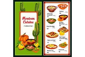 Spicy Mexican cuisine menu, vector