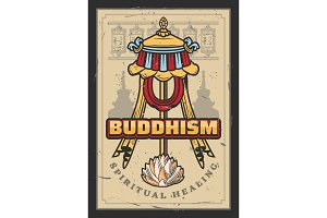 Buddhism religion, flag and lotus