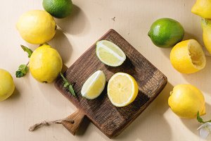 Lemons, limes and mint