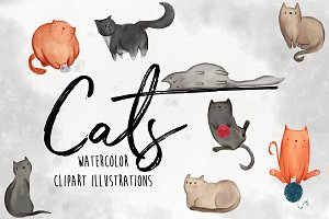 Watercolor Cat Illustration Clipart