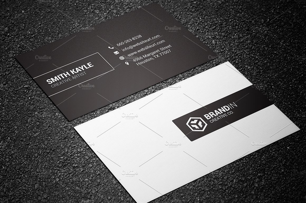 Minimal Black & White Business Card ~ Business Card Templates ...