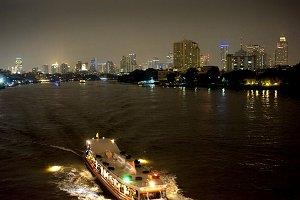 Boat at night. Bangkok, Thailand