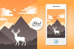 mountain landscape with white deer.
