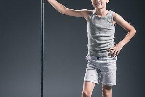 smiling pre-adolescent boy in sports