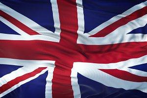 UK Realistic Waving Flag Background