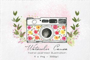 Watercolor Camera Illustration